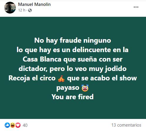 """Manolín critica a los seguidores de Trump por """"fanatizarse con un psicópata"""""""