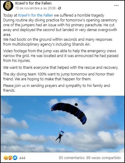 Paracaidista cubano fallece en Florida durante un salto que salió mal