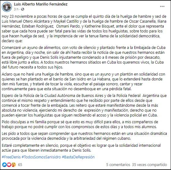 Músico cubano en Argentina comienza ayuno en solidaridad con el Movimiento San Isidro