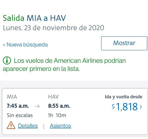 captura de pantalla de American Airlines