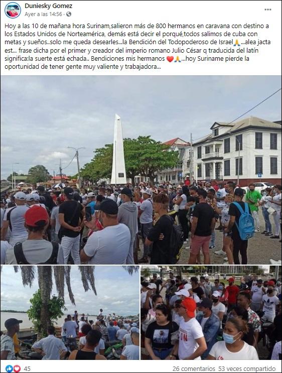 Caravana con más de 800 cubanos sale de Surinam con destino a EEUU