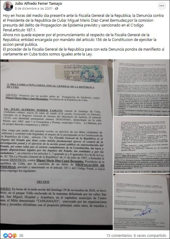 Miguel Díaz-Canel es denunciado por propagación de epidemias