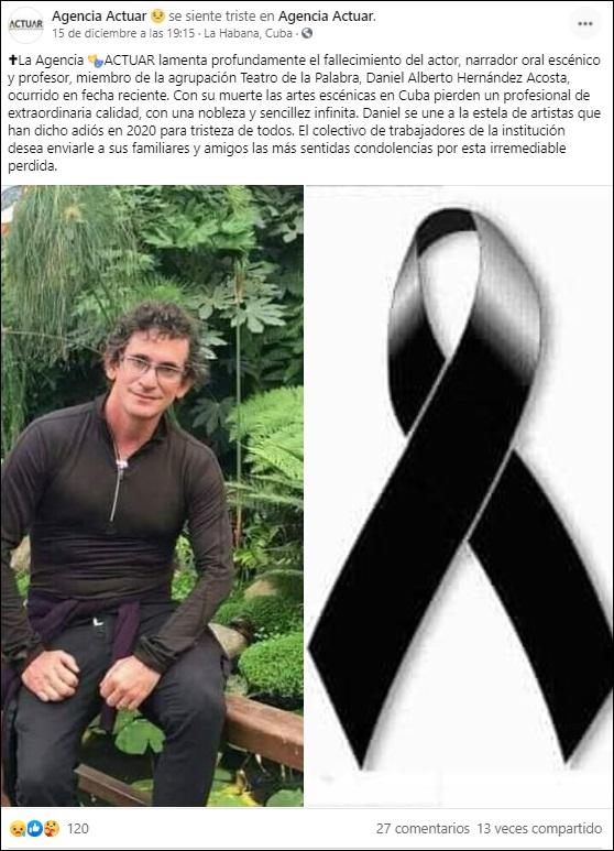 Fallece el actor y narrador cubano Daniel Alberto Hernández.