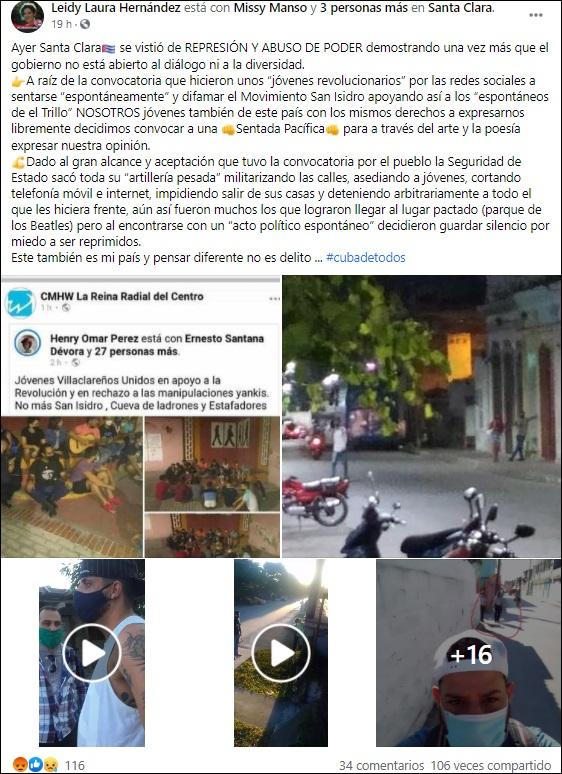 Militarizan las calles de Santa Clara luego de que se convocara una sentada pacífica