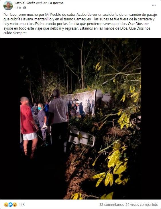 Varios muertos en Las Tunas al volcarse camión en la ruta La Habana-Manzanillo