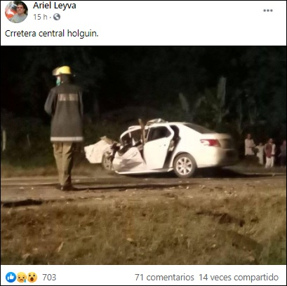 Auto de turismo impacta contra rastra en Carretera Central en Holguín