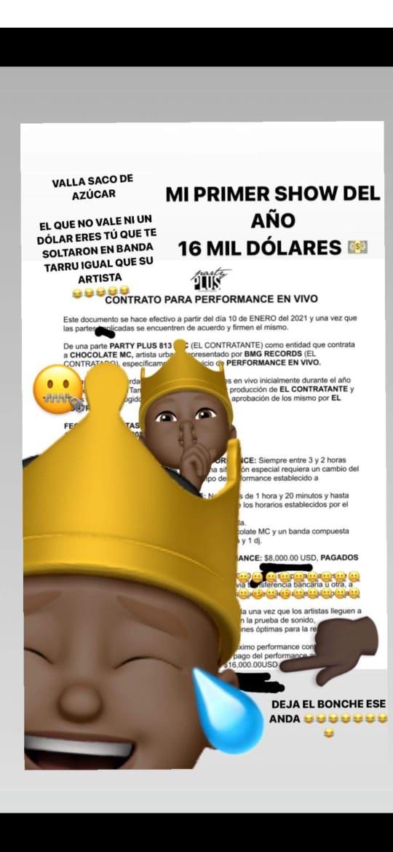 Contrato de Chocolate MC por un concierto en Miami