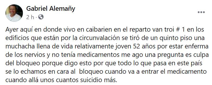 Cubana con esquizofrenia se suicida por falta de medicamentos