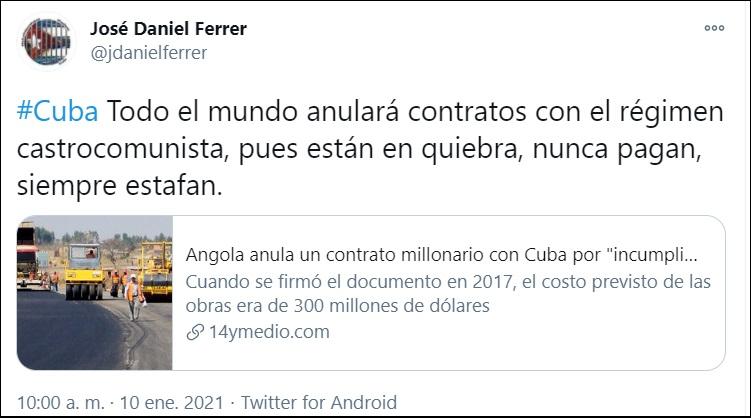 Angola cancela contrato millonario con Cuba por incumplimiento de obligaciones