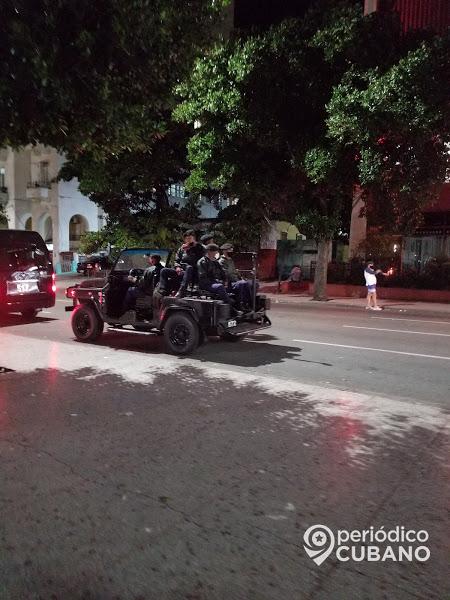 La Habana de noche custodiada por tropas especiales