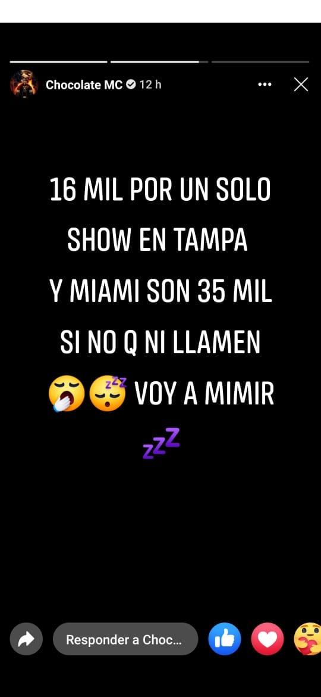 Lo que gana Chocolate MC por un show en Miami y Tampa