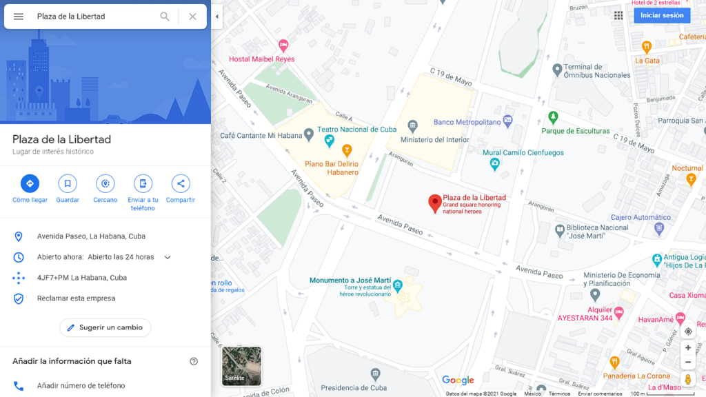 Desde hoy será reconocida como Plaza de la Libertad (Foto: Captura de pantalla Google Maps)