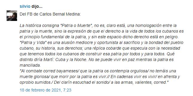 Captura de Pantalla al blog de Silvio Rodríguez, Segunda Cita