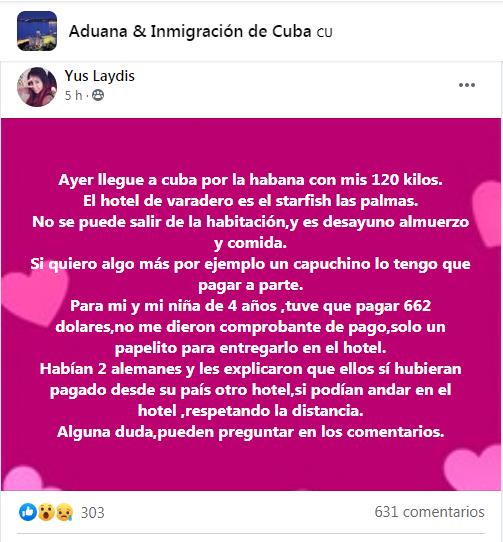 Publicación de la usuaria de Facebook sobre su estancia en el centro de aislamiento del Hotel Starfish Las Palmas