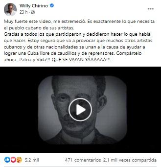"""Willy Chirino reacciona al tema """"Patria y Vida"""""""