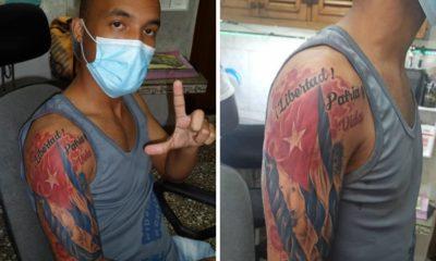 Activista Opositor cubano Osmani Pardo tatuaje Libertad Patria y Vida