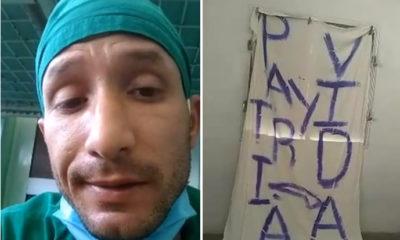 """""""Parece que voy a dormir en los calabozos"""": Detienen a camillero por colocar cartel de Patria y Vida en su casa"""