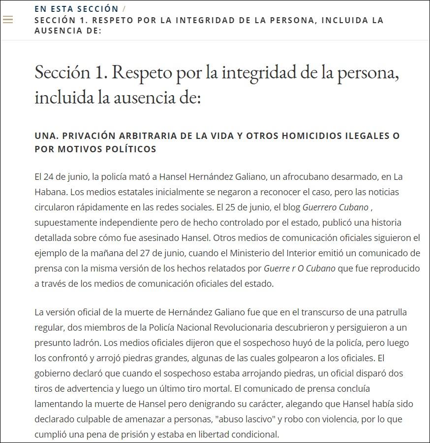 Asesinato de Hansel Hernández entre las violaciones en Cuba denunciadas por EEUU