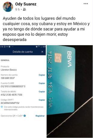 cuenta para depositar ayuda a odalys suárez y su esposo Irabel Delgado