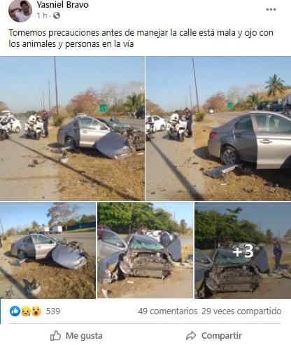 Automóvil termina destrozado tras accidente en la Autopista Nacional