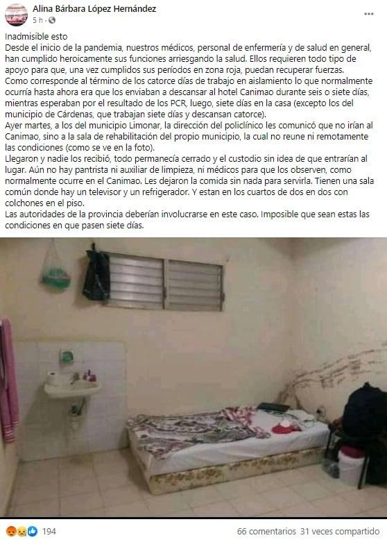Denuncian que médicos en Matanzas deben pasar su aislamiento durmiendo en el piso