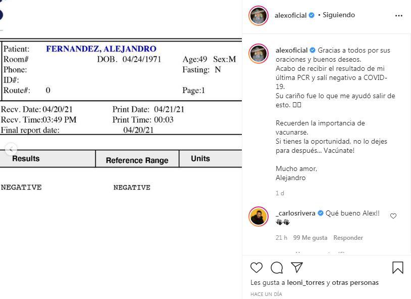 Publicación en Instagram de Alejandro Fernández con su test negativo al Covid-19