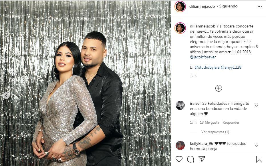 Publicación en Instagram de Diliamne Jacob por su aniversario de pareja con Jacob Forever