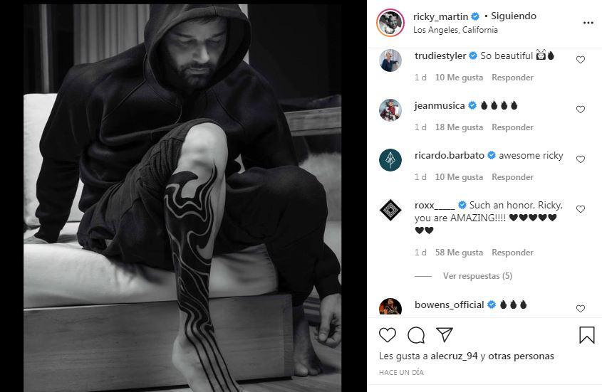Publicación en Instagram de Ricky Martin luciendo su nuevo tatuaje
