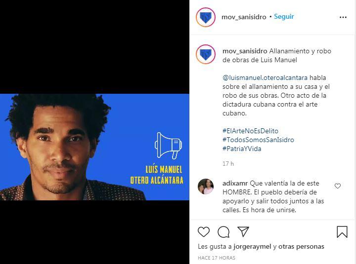 Publicación en Instagram del Movimiento San Isidro con las declaraciones de Luis Manuel Otero Alcántara