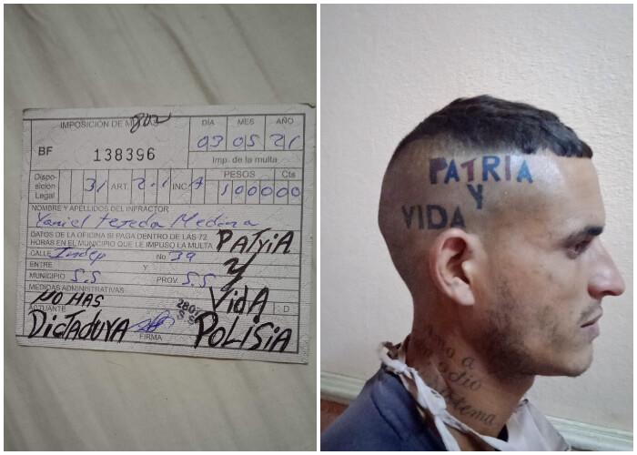 """Antes de ir a pagarla, activista escribe """"Patria y Vida"""" sobre una multa de 1.000 pesos"""