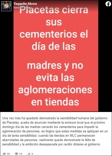 Placetas cerrará sus cementerios el Día de las Madres