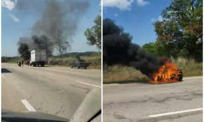 Motorina se incendia a media carretera en Mayabeque