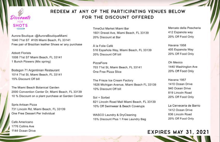 Negocios privados de Miami Beach ofrecen bebidas gratis y descuentos para quienes se vacunen