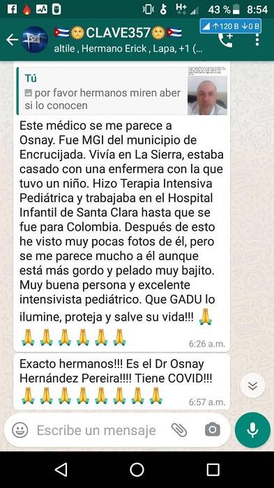 Un médico cubano se encuentra grave en Colombia por Covid-19