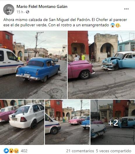 Se registra fuerte choque entre dos Almendrones en La Habana