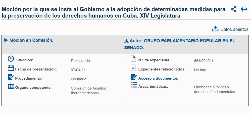 Senado de España rechaza noción a favor de los derechos humanos en Cuba