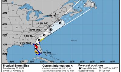Alerta tornado sur de Florida huracán Elsa