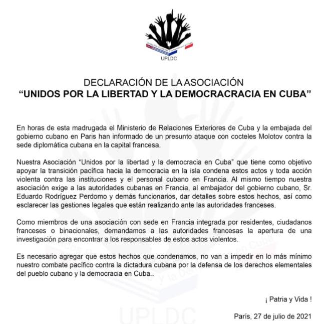 Activistas cubanos en Francia condenan presunto ataque contra la embajada de Cuba. (Captura de pantalla: Unidos por la libertad y la democracia de Cuba-Facebook)