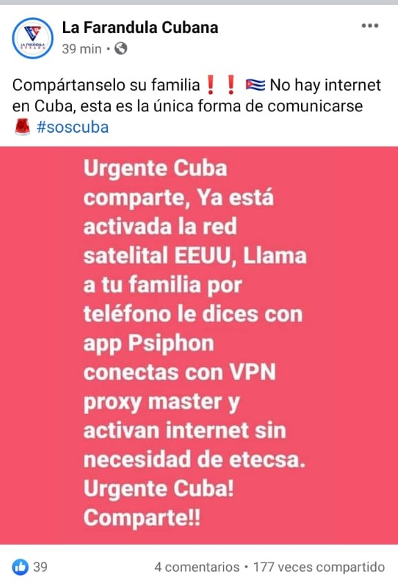 Estado sobre VPN en Cuba. (Facebook).