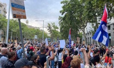 Manifestacion de cubanos en Barcelona