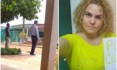 Agentes de la PNR frente a la casa de la activista María Cristina Garrido. (Nestor Fernández-Facebook/ María Cristina-Facebook).