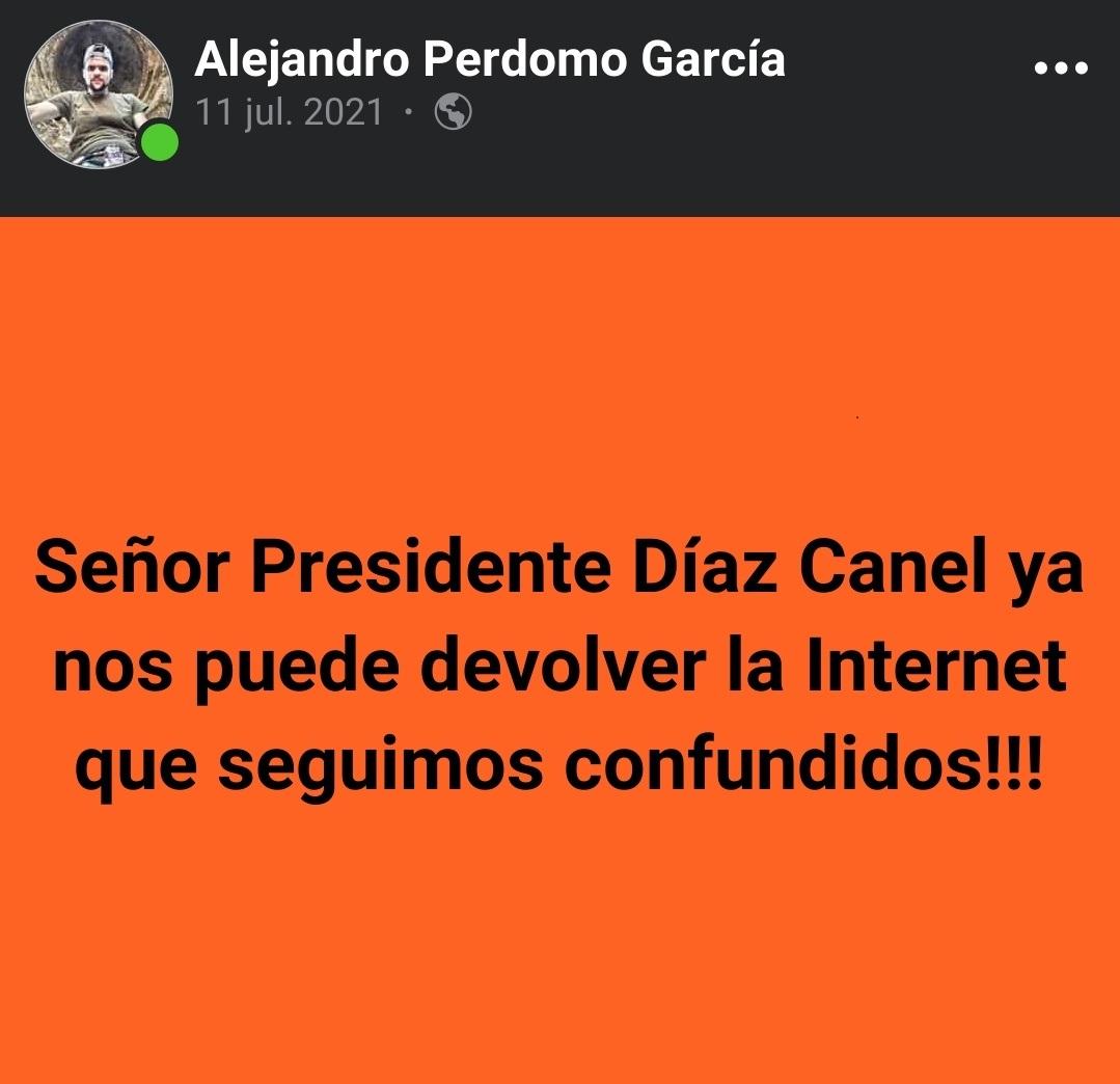 Joven cubano separado de su trabajo por reclamar la falta de Internet a Díaz-Canel