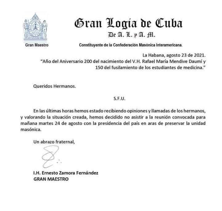 Carta Gran Logia de Cuba