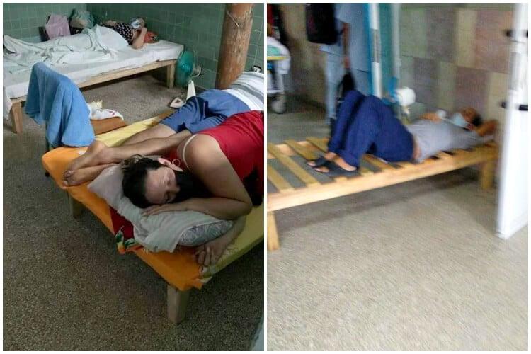 Pacientes en camas incompletas o compartidas en Hospital de Cienfuegos. (Elianet Padrón-Facebook).