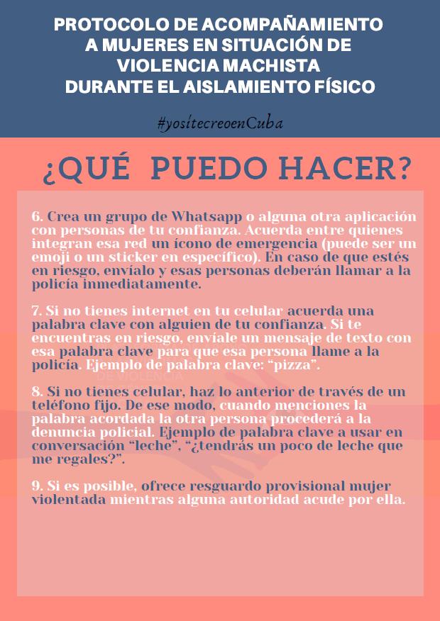 Protocolo para mujeres víctimas de violencia 2. (Foto Yo Sí Te Creo en Cuba-Facebook)