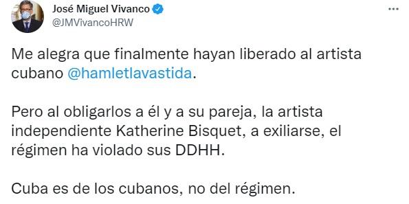 Amnistía Internacional y HRW condenan el destierro de Hamlet Lavastida y Katherine Bisquet