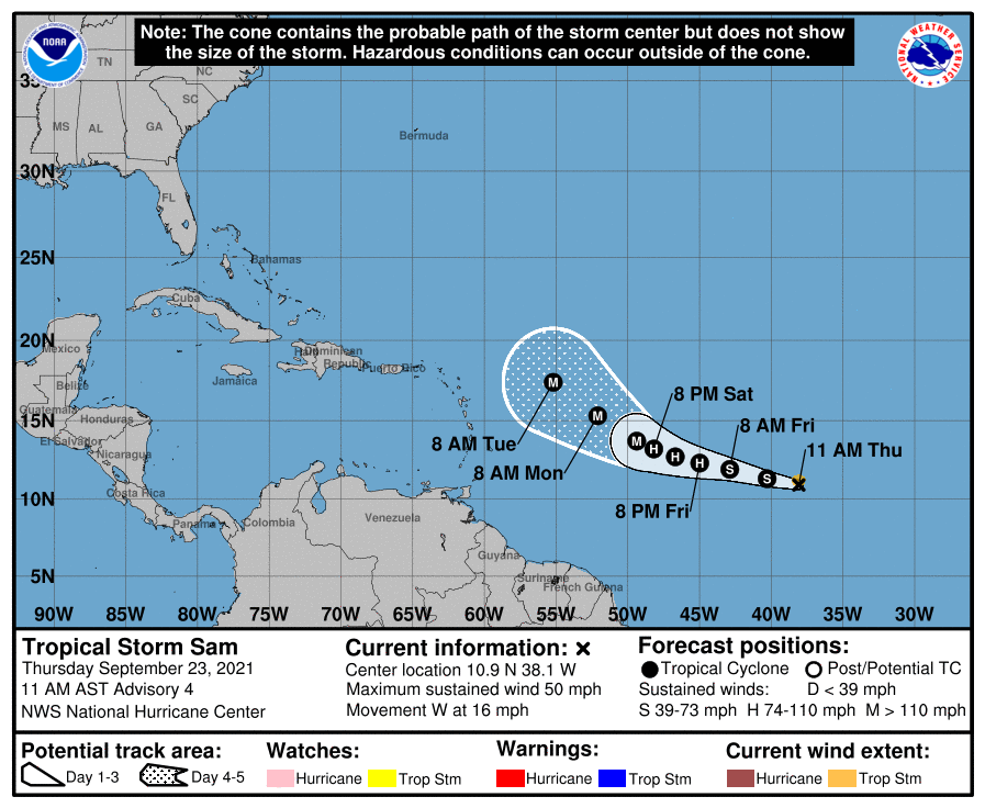 Instituto de Meteorología emite aviso sobre la tormenta tropical Sam