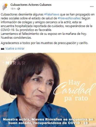 La actriz cubana Nieves Riovalles se encuentra hospitalizada con COVID-19