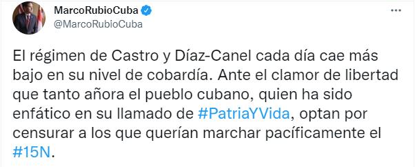 """Marco Rubio """"Régimen castrista cada día cae más bajo en su nivel de cobardía""""2"""